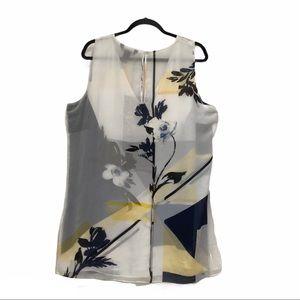 WHBM Plus Floral Illusion Tunic Color Block SZ 14